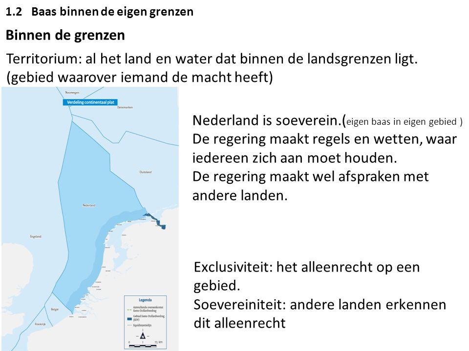 1.2Baas binnen de eigen grenzen Binnen de grenzen Territorium: al het land en water dat binnen de landsgrenzen ligt. (gebied waarover iemand de macht