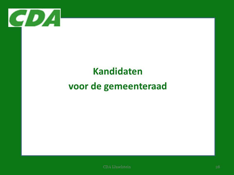 28CDA IJsselstein Kandidaten voor de gemeenteraad