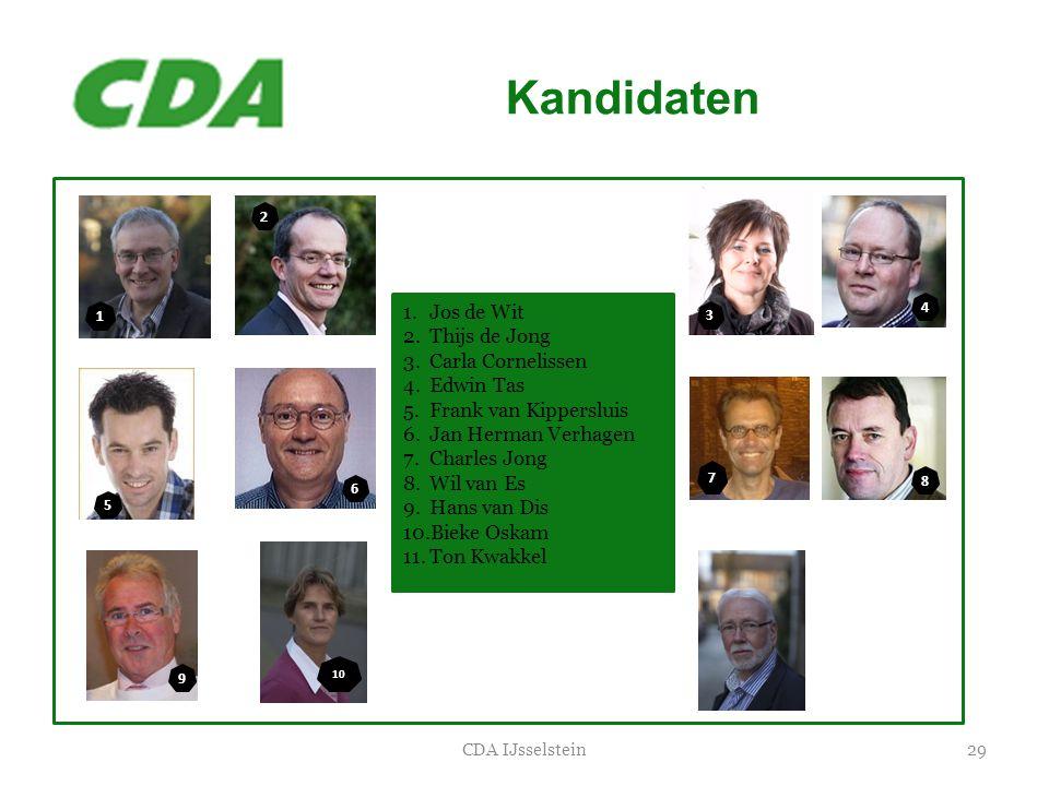 Kandidaten 29CDA IJsselstein 1.Jos de Wit 2.Thijs de Jong 3.Carla Cornelissen 4.Edwin Tas 5.Frank van Kippersluis 6.Jan Herman Verhagen 7.Charles Jong