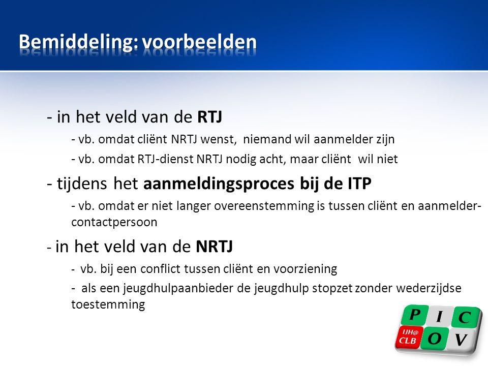 - in het veld van de RTJ - vb. omdat cliënt NRTJ wenst, niemand wil aanmelder zijn - vb. omdat RTJ-dienst NRTJ nodig acht, maar cliënt wil niet - tijd