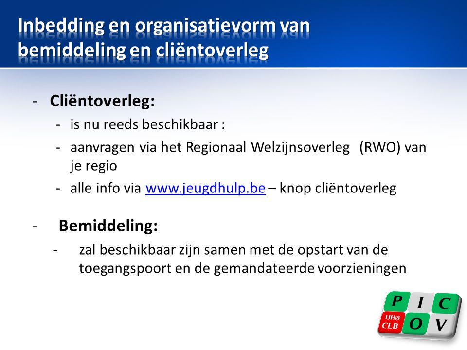-Cliëntoverleg: -is nu reeds beschikbaar : -aanvragen via het Regionaal Welzijnsoverleg (RWO) van je regio -alle info via www.jeugdhulp.be – knop clië