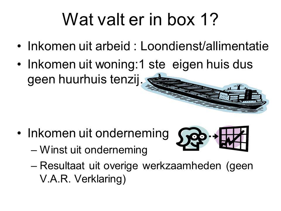 Wat valt er in box 1? •Inkomen uit arbeid : Loondienst/allimentatie •Inkomen uit woning:1 ste eigen huis dus geen huurhuis tenzij……. •Inkomen uit onde