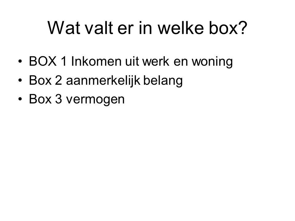 Wat valt er in welke box? •BOX 1 Inkomen uit werk en woning •Box 2 aanmerkelijk belang •Box 3 vermogen