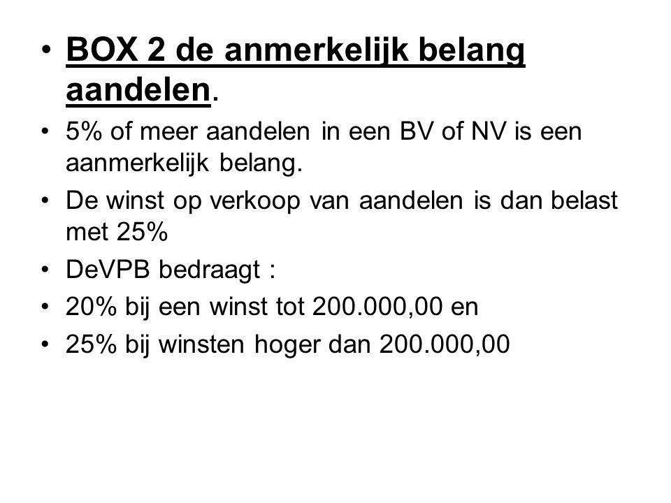 •BOX 2 de anmerkelijk belang aandelen. •5% of meer aandelen in een BV of NV is een aanmerkelijk belang. •De winst op verkoop van aandelen is dan belas