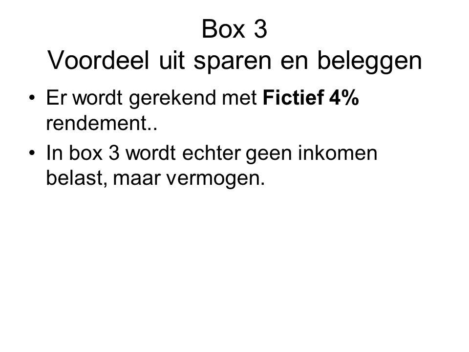 Box 3 Voordeel uit sparen en beleggen •Er wordt gerekend met Fictief 4% rendement.. •In box 3 wordt echter geen inkomen belast, maar vermogen.