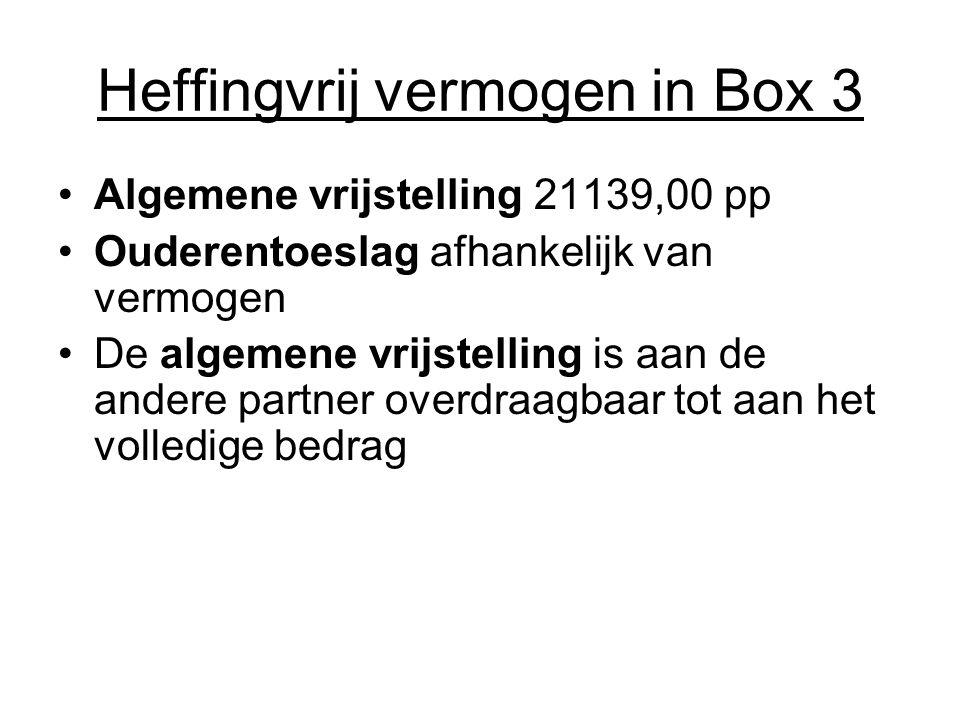 Heffingvrij vermogen in Box 3 •Algemene vrijstelling 21139,00 pp •Ouderentoeslag afhankelijk van vermogen •De algemene vrijstelling is aan de andere p