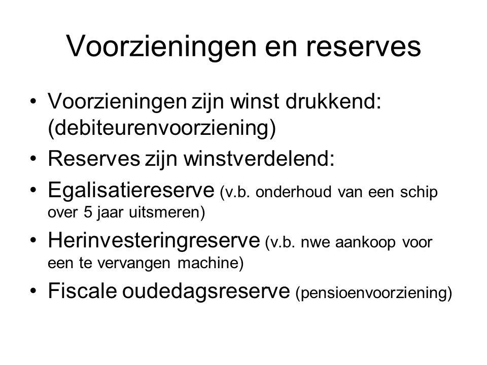Voorzieningen en reserves •Voorzieningen zijn winst drukkend: (debiteurenvoorziening) •Reserves zijn winstverdelend: •Egalisatiereserve (v.b. onderhou