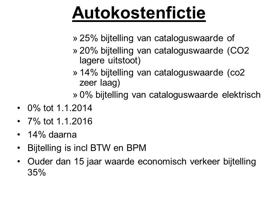 Autokostenfictie »25% bijtelling van cataloguswaarde of »20% bijtelling van cataloguswaarde (CO2 lagere uitstoot) »14% bijtelling van cataloguswaarde