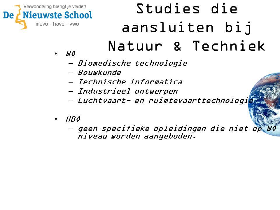 •WO –Biomedische technologie –Bouwkunde –Technische informatica –Industrieel ontwerpen –Luchtvaart- en ruimtevaarttechnologie •HBO –geen specifieke op