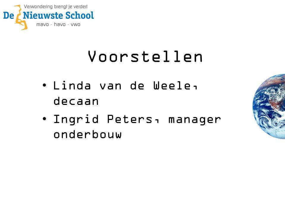Voorstellen •Linda van de Weele, decaan •Ingrid Peters, manager onderbouw
