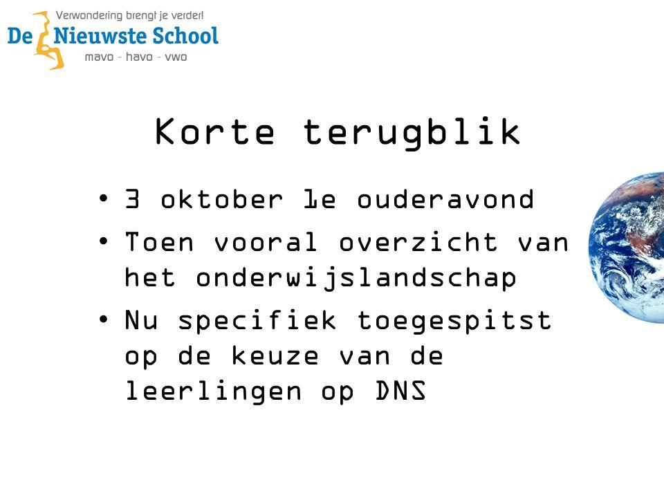 Korte terugblik •3 oktober 1e ouderavond •Toen vooral overzicht van het onderwijslandschap •Nu specifiek toegespitst op de keuze van de leerlingen op DNS