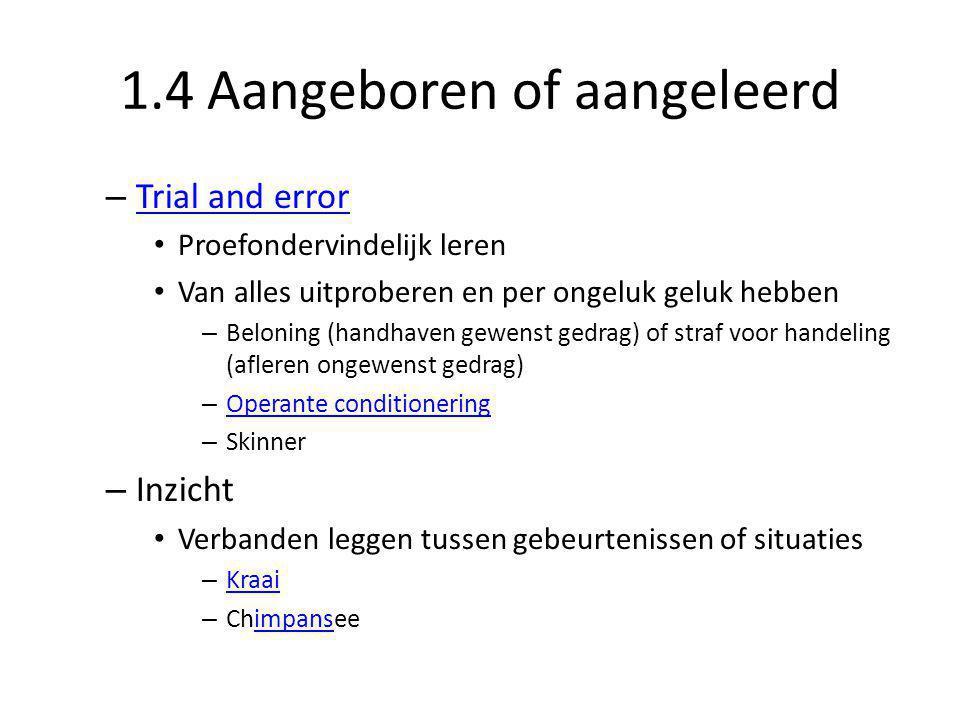 1.4 Aangeboren of aangeleerd – Trial and error Trial and error • Proefondervindelijk leren • Van alles uitproberen en per ongeluk geluk hebben – Belon