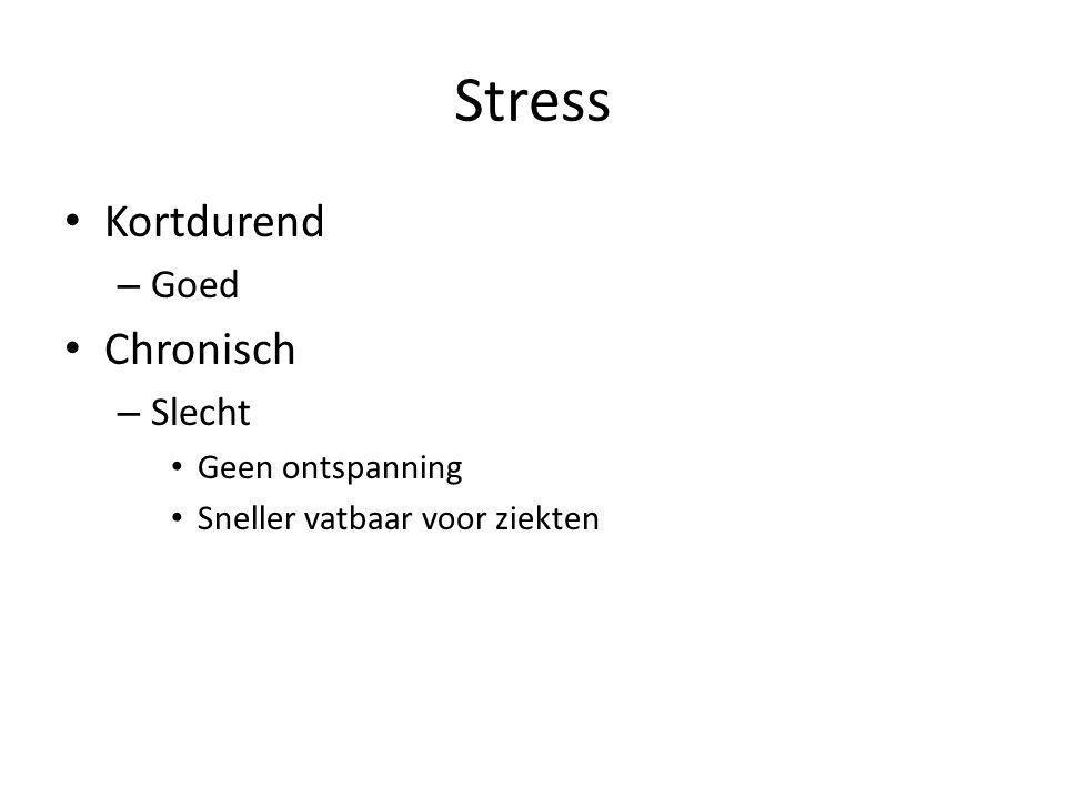 Stress • Kortdurend – Goed • Chronisch – Slecht • Geen ontspanning • Sneller vatbaar voor ziekten
