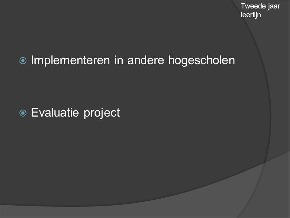  Implementeren in andere hogescholen  Evaluatie project Tweede jaar leerlijn