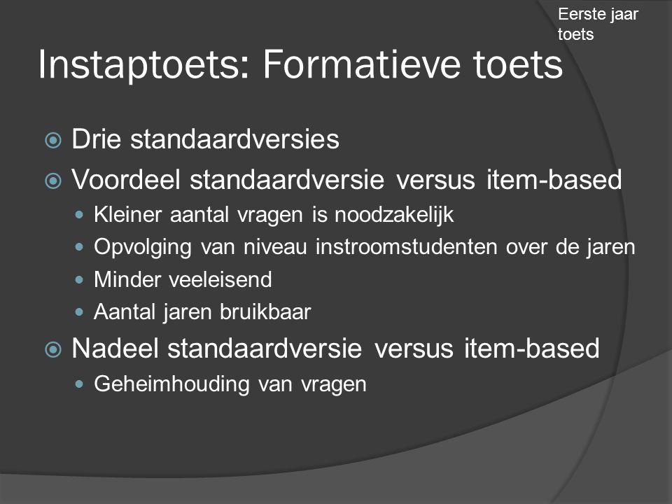 Instaptoets: Formatieve toets  Drie standaardversies  Voordeel standaardversie versus item-based  Kleiner aantal vragen is noodzakelijk  Opvolging