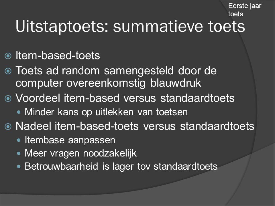 Uitstaptoets: summatieve toets  Item-based-toets  Toets ad random samengesteld door de computer overeenkomstig blauwdruk  Voordeel item-based versu