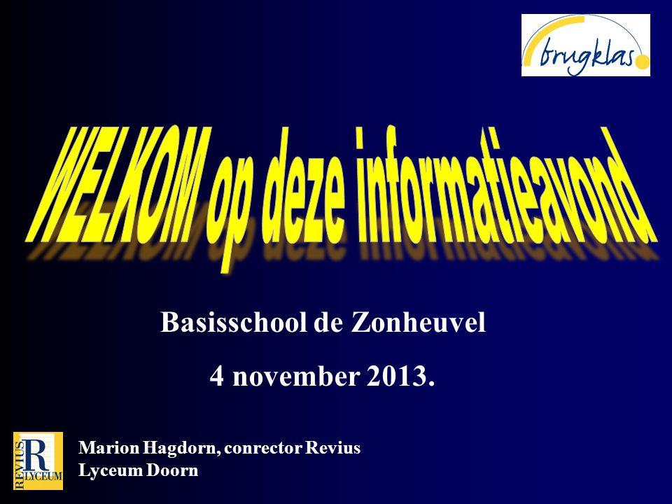 Marion Hagdorn, conrector Revius Lyceum Doorn Basisschool de Zonheuvel 4 november 2013.