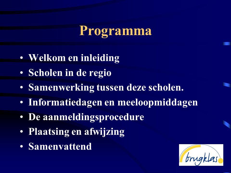 Programma •Welkom en inleiding •Scholen in de regio •Samenwerking tussen deze scholen.