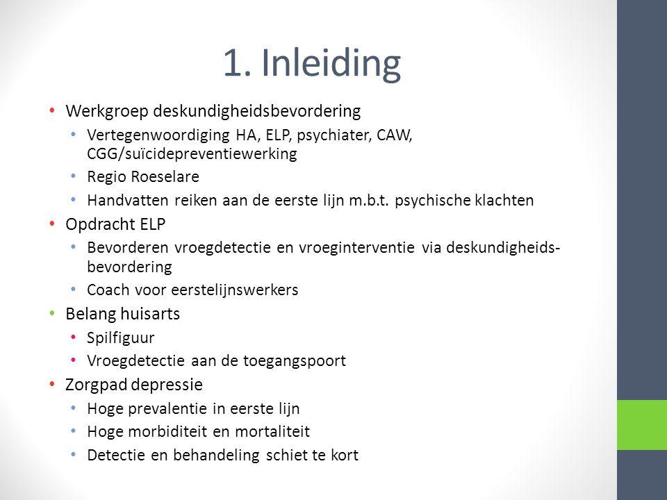1. Inleiding • Werkgroep deskundigheidsbevordering • Vertegenwoordiging HA, ELP, psychiater, CAW, CGG/suïcidepreventiewerking • Regio Roeselare • Hand