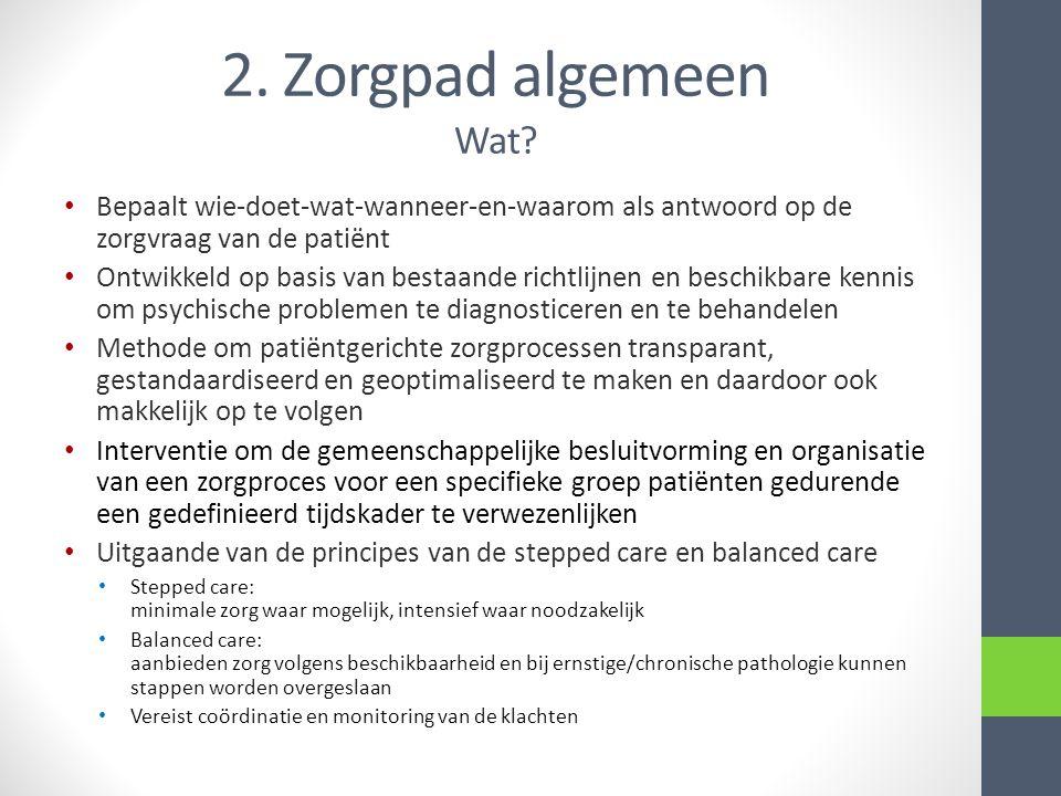 2. Zorgpad algemeen Wat? • Bepaalt wie-doet-wat-wanneer-en-waarom als antwoord op de zorgvraag van de patiënt • Ontwikkeld op basis van bestaande rich