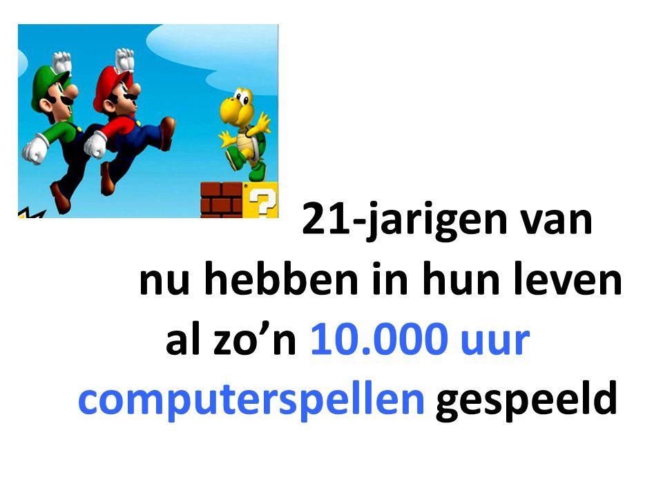 21-jarigen van nu hebben in hun leven al zo'n 10.000 uur computerspellen gespeeld