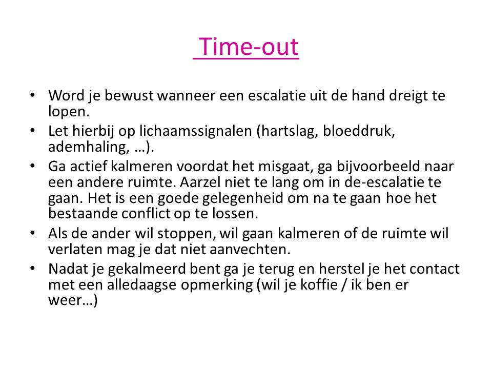 Time-out • Word je bewust wanneer een escalatie uit de hand dreigt te lopen. • Let hierbij op lichaamssignalen (hartslag, bloeddruk, ademhaling, …). •