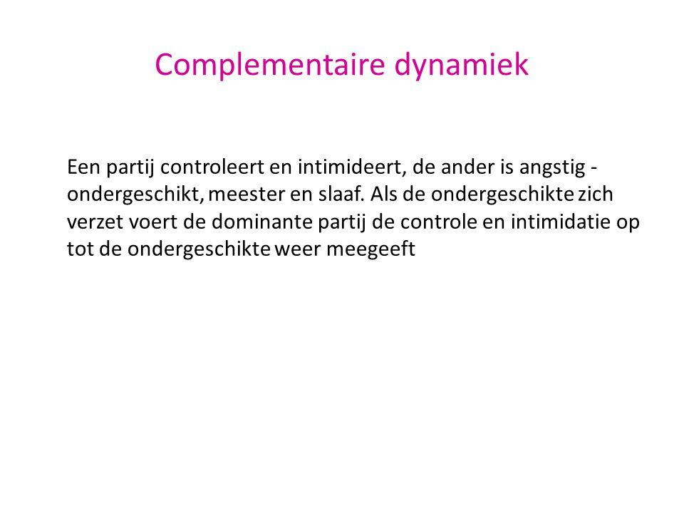 Complementaire dynamiek Een partij controleert en intimideert, de ander is angstig - ondergeschikt, meester en slaaf. Als de ondergeschikte zich verze