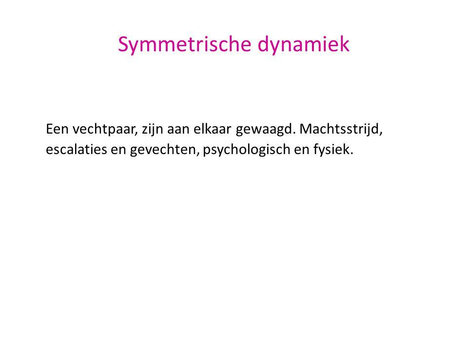 Symmetrische dynamiek Een vechtpaar, zijn aan elkaar gewaagd. Machtsstrijd, escalaties en gevechten, psychologisch en fysiek.