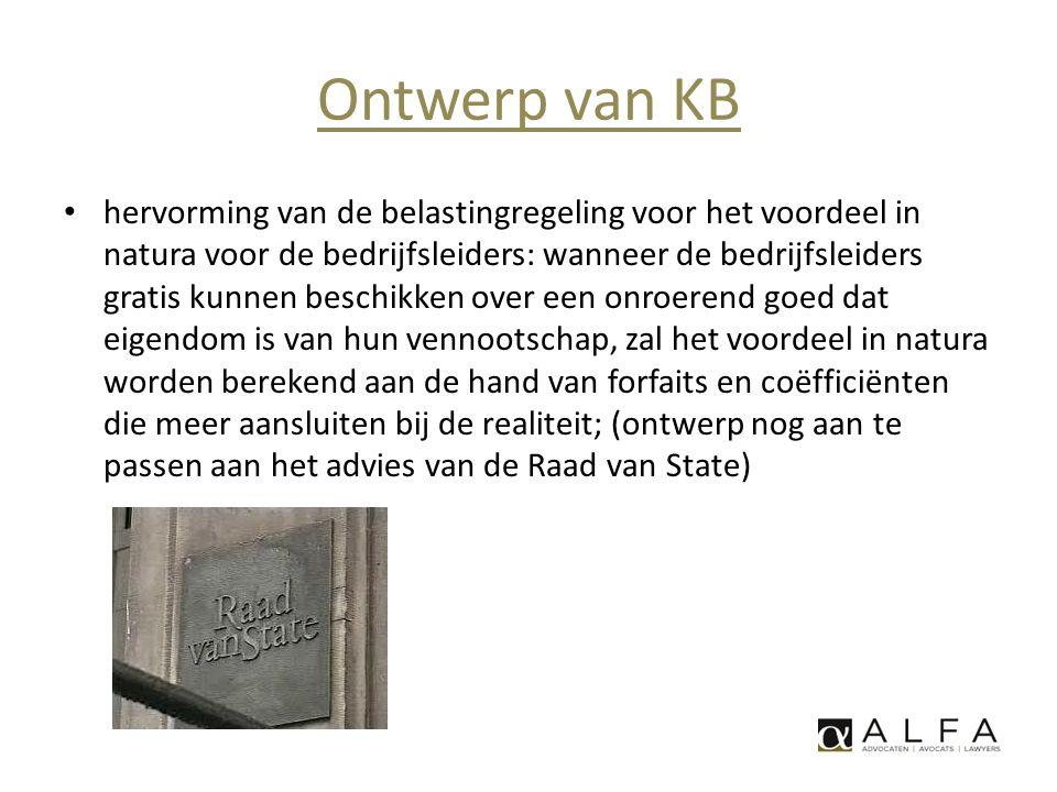 Ontwerp van KB • hervorming van de belastingregeling voor het voordeel in natura voor de bedrijfsleiders: wanneer de bedrijfsleiders gratis kunnen bes