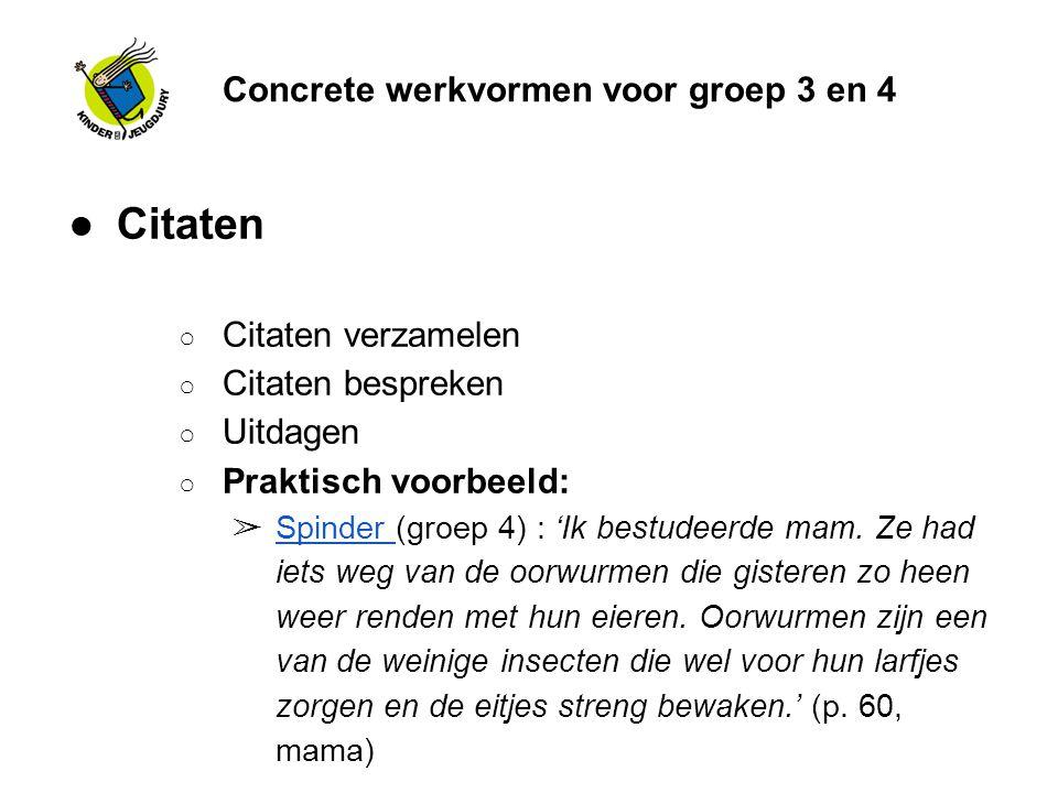 Concrete werkvormen voor groep 3 en 4 ●Citaten ○ Citaten verzamelen ○ Citaten bespreken ○ Uitdagen ○ Praktisch voorbeeld: ➢ Spinder (groep 4) : 'Ik be