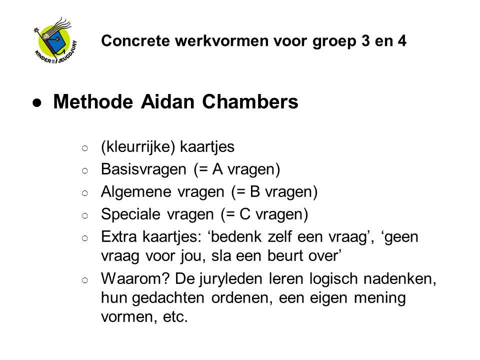 Concrete werkvormen voor groep 3 en 4 ●Methode Aidan Chambers ○ (kleurrijke) kaartjes ○ Basisvragen (= A vragen) ○ Algemene vragen (= B vragen) ○ Spec