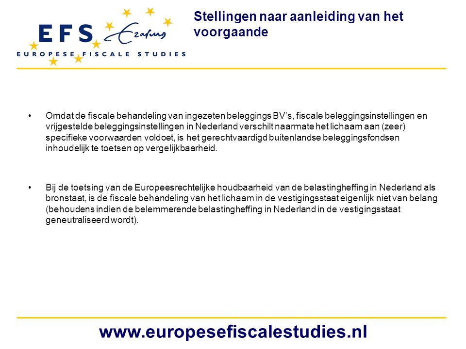 •Omdat de fiscale behandeling van ingezeten beleggings BV's, fiscale beleggingsinstellingen en vrijgestelde beleggingsinstellingen in Nederland versch