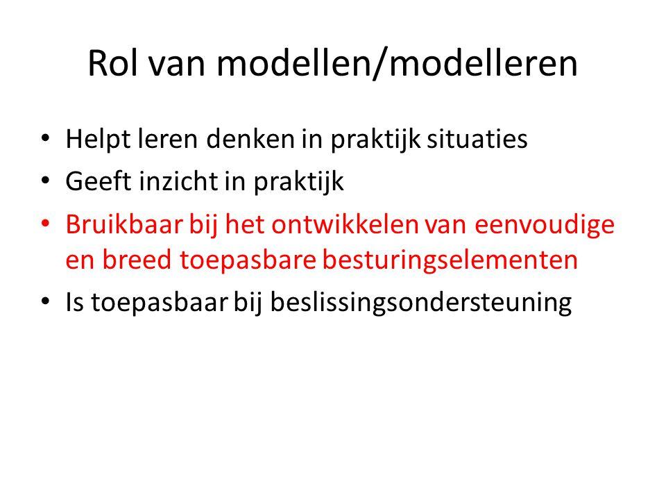 Rol van modellen/modelleren • Helpt leren denken in praktijk situaties • Geeft inzicht in praktijk • Bruikbaar bij het ontwikkelen van eenvoudige en breed toepasbare besturingselementen • Is toepasbaar bij beslissingsondersteuning