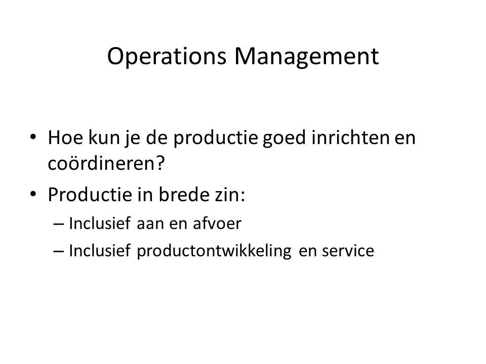 • Hoe kun je de productie goed inrichten en coördineren.