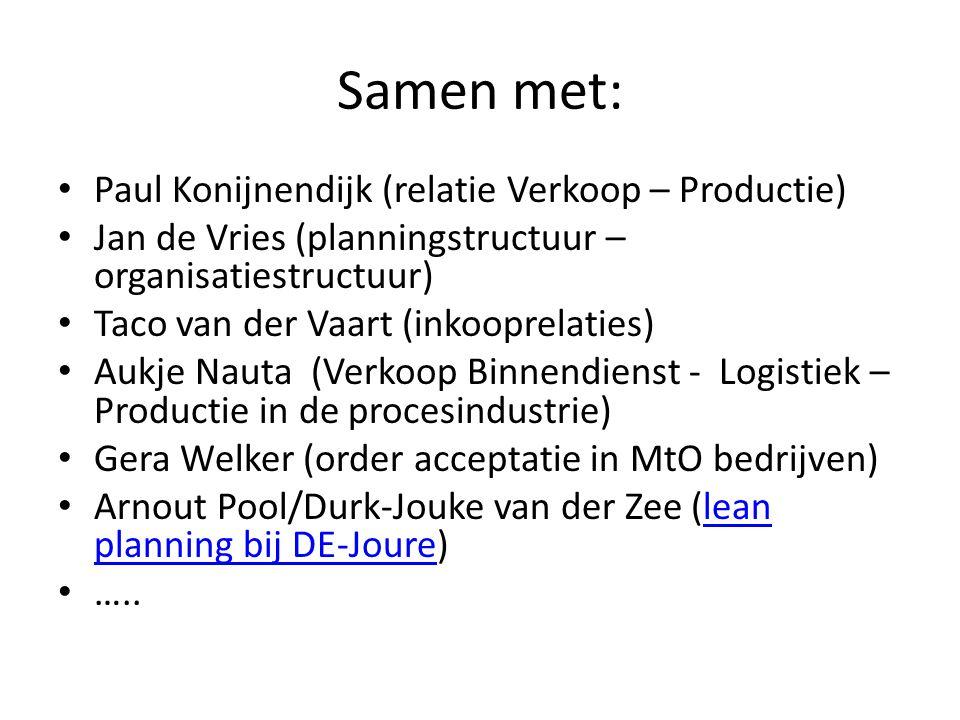 Samen met: • Paul Konijnendijk (relatie Verkoop – Productie) • Jan de Vries (planningstructuur – organisatiestructuur) • Taco van der Vaart (inkooprelaties) • Aukje Nauta (Verkoop Binnendienst - Logistiek – Productie in de procesindustrie) • Gera Welker (order acceptatie in MtO bedrijven) • Arnout Pool/Durk-Jouke van der Zee (lean planning bij DE-Joure)lean planning bij DE-Joure • …..