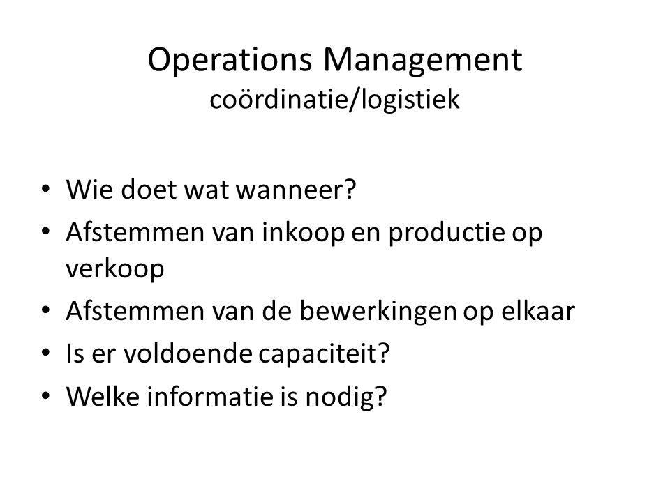 Operations Management coördinatie/logistiek • Wie doet wat wanneer.