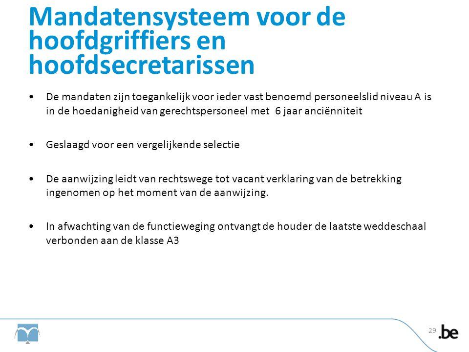 Mandatensysteem voor de hoofdgriffiers en hoofdsecretarissen •De mandaten zijn toegankelijk voor ieder vast benoemd personeelslid niveau A is in de ho