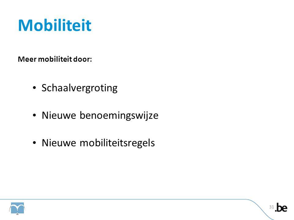 Mobiliteit Meer mobiliteit door: • Schaalvergroting • Nieuwe benoemingswijze • Nieuwe mobiliteitsregels 31
