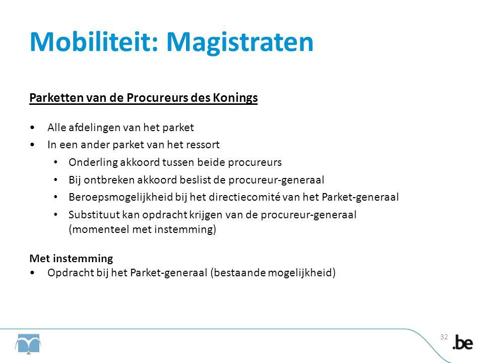Mobiliteit: Magistraten Parketten van de Procureurs des Konings •Alle afdelingen van het parket •In een ander parket van het ressort • Onderling akkoo
