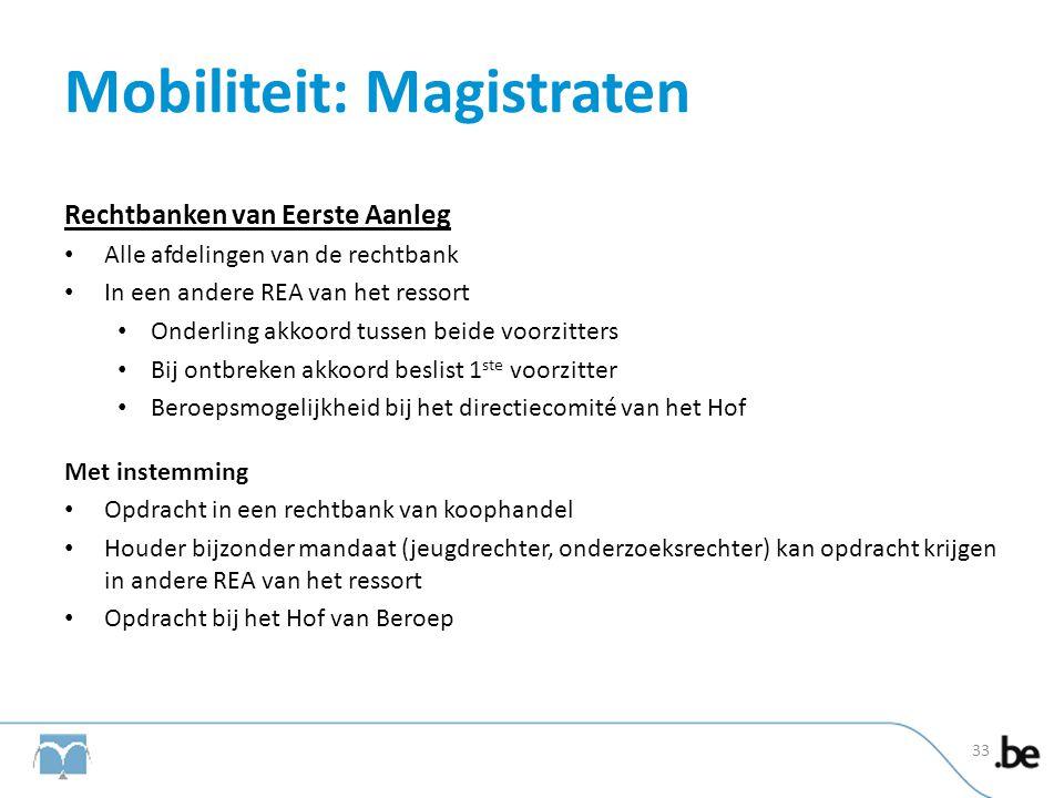 Mobiliteit: Magistraten Rechtbanken van Eerste Aanleg • Alle afdelingen van de rechtbank • In een andere REA van het ressort • Onderling akkoord tusse