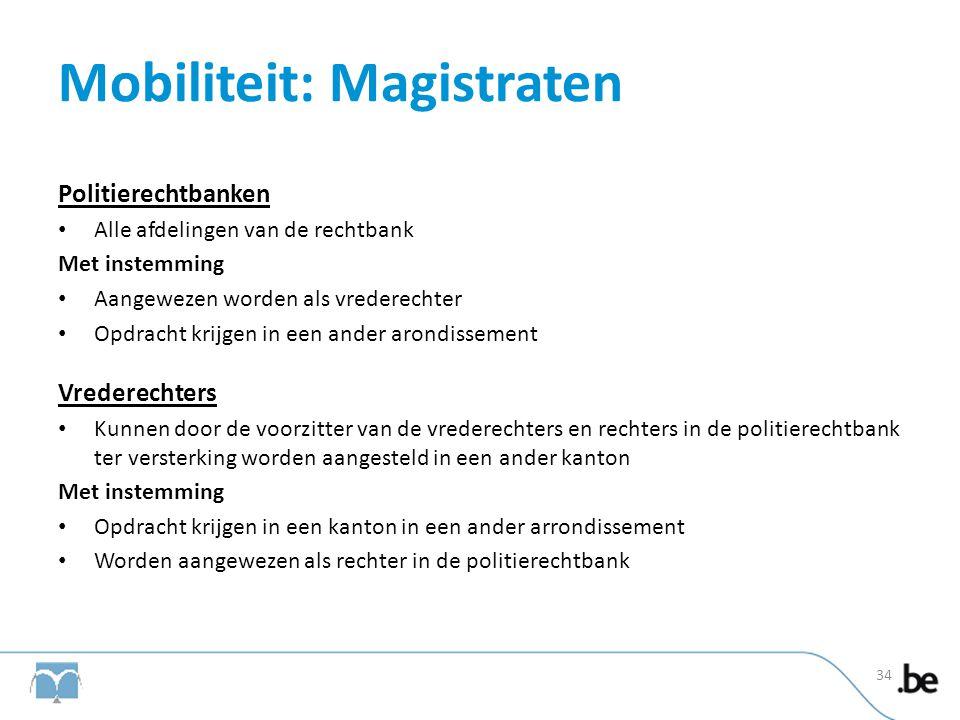 Mobiliteit: Magistraten Politierechtbanken • Alle afdelingen van de rechtbank Met instemming • Aangewezen worden als vrederechter • Opdracht krijgen i