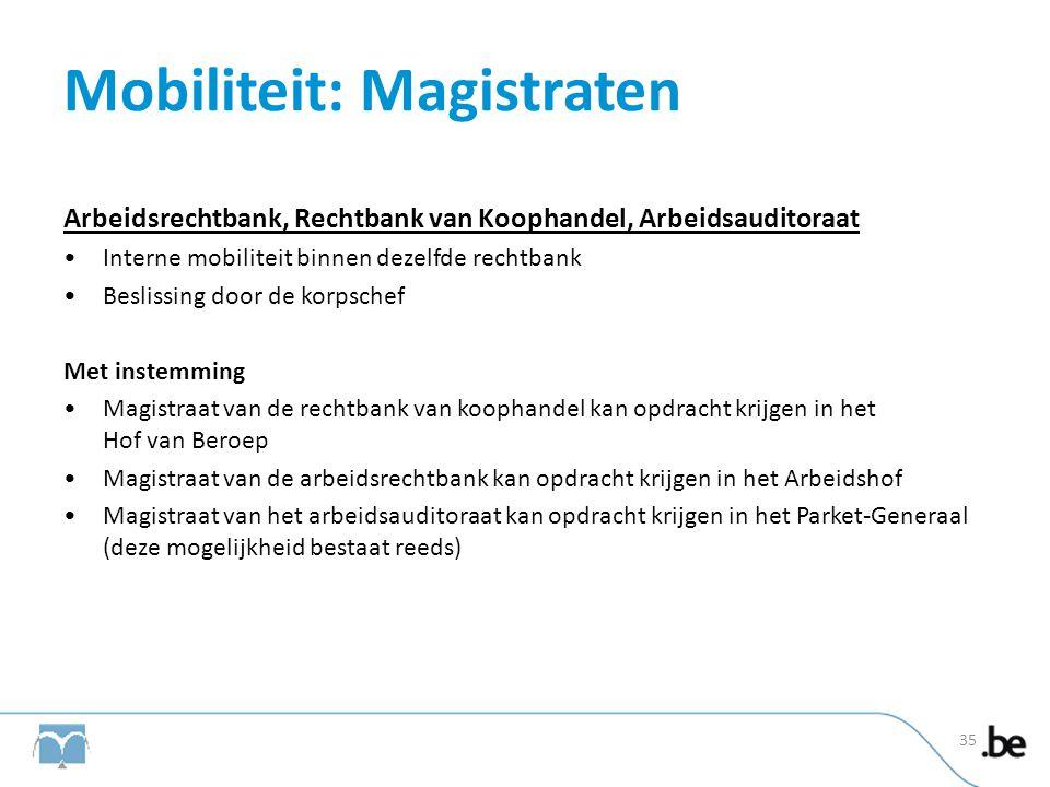 Mobiliteit: Magistraten Arbeidsrechtbank, Rechtbank van Koophandel, Arbeidsauditoraat •Interne mobiliteit binnen dezelfde rechtbank •Beslissing door d