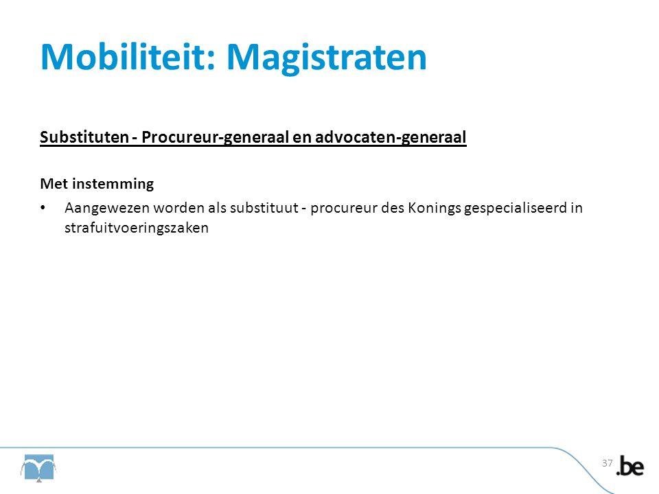Mobiliteit: Magistraten Substituten - Procureur-generaal en advocaten-generaal Met instemming • Aangewezen worden als substituut - procureur des Konin