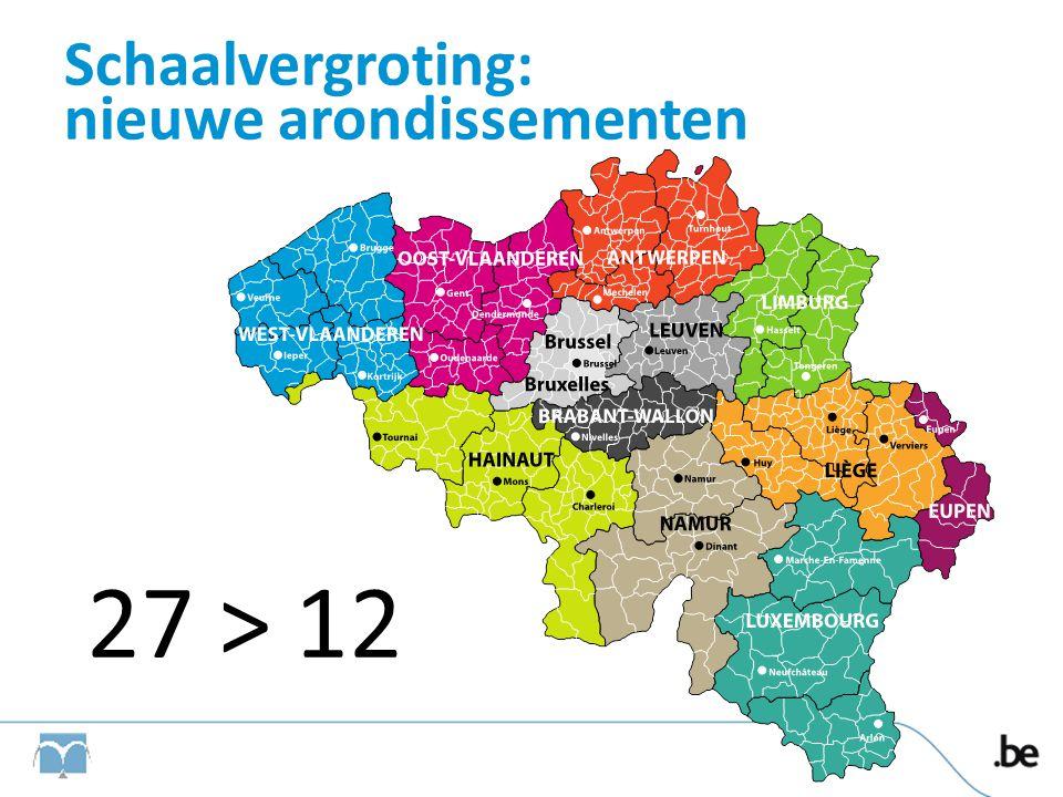 Schaalvergroting: nieuwe rechtbanken Worden op ressortniveau georganiseerd •9 Arbeidsrechtbanken • Uitzonderingen: Brussel (NL en FR), Leuven, Nijvel en Eupen • Dus 9 arbeidsrechtbanken verdeeld over 34 afdelingen •9 Rechtbanken van Koophandel • Uitzondering: Brussel (NL en FR), Leuven, Nijvel en Eupen • Dus 9 rechtbanken van Koophandel verdeeld over 30 afdelingen •9 Arbeidsauditoraten • Uitzonderingen: Brussel (NL en FR), Leuven, Nijvel en Eupen 5