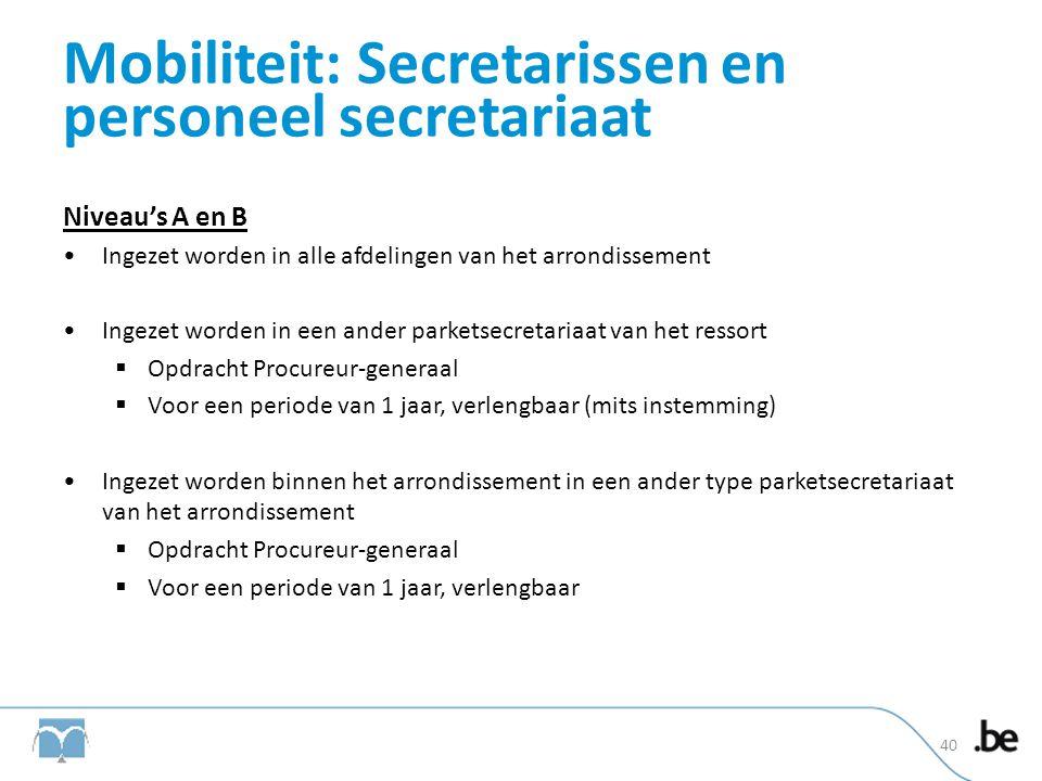 Mobiliteit: Secretarissen en personeel secretariaat Niveau's A en B •Ingezet worden in alle afdelingen van het arrondissement •Ingezet worden in een a