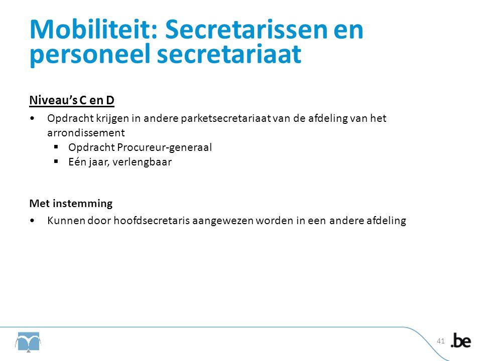 Mobiliteit: Secretarissen en personeel secretariaat Niveau's C en D •Opdracht krijgen in andere parketsecretariaat van de afdeling van het arrondissem