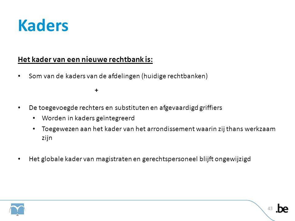 Kaders Het kader van een nieuwe rechtbank is: • Som van de kaders van de afdelingen (huidige rechtbanken) + • De toegevoegde rechters en substituten e