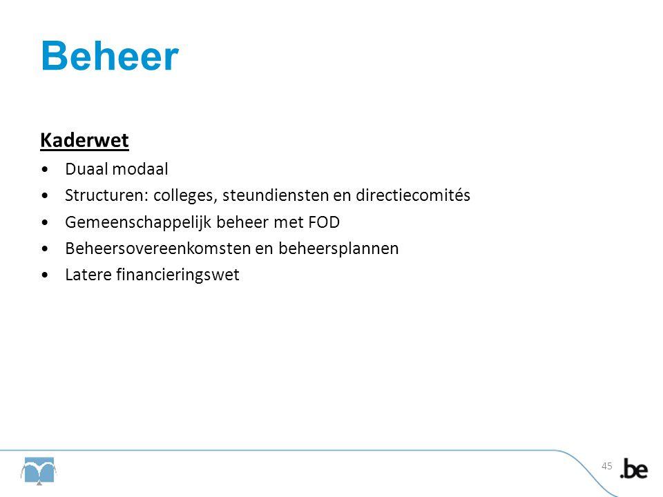 Beheer Kaderwet •Duaal modaal •Structuren: colleges, steundiensten en directiecomités •Gemeenschappelijk beheer met FOD •Beheersovereenkomsten en behe