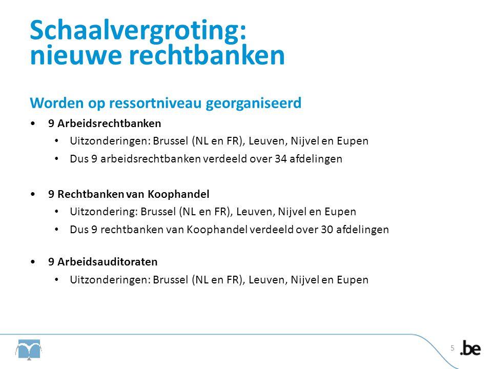 Schaalvergroting: nieuwe rechtbanken Worden op ressortniveau georganiseerd •9 Arbeidsrechtbanken • Uitzonderingen: Brussel (NL en FR), Leuven, Nijvel