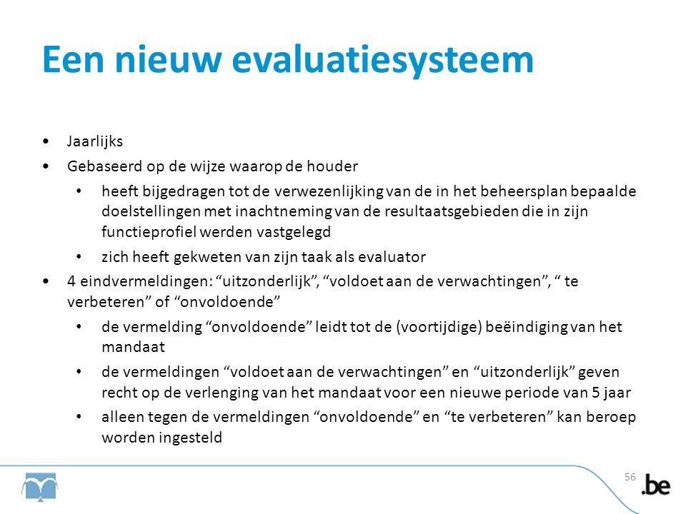Een nieuw evaluatiesysteem •Jaarlijks •Gebaseerd op de wijze waarop de houder • heeft bijgedragen tot de verwezenlijking van de in het beheersplan bep